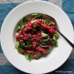 mushroom risotto with beet puree