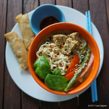 green Thai curry and spring rolls