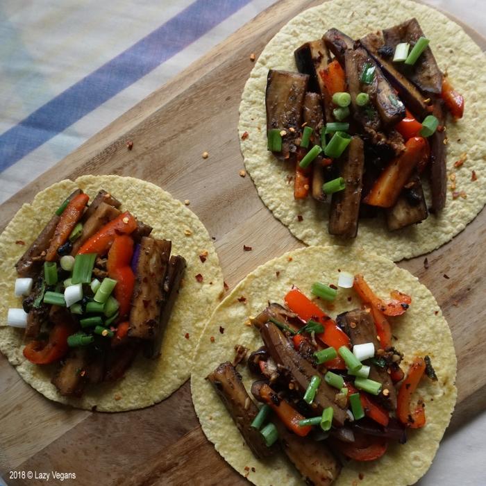 eggplant black bean tacos