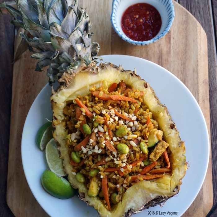 pineapple bowl with spicy fried rice