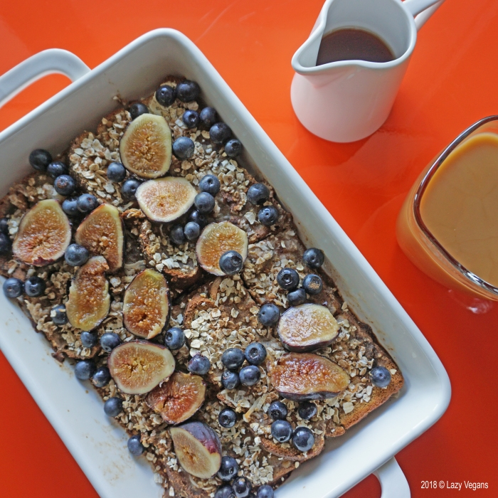 baked French toast with blueberries, figs and maple syrup