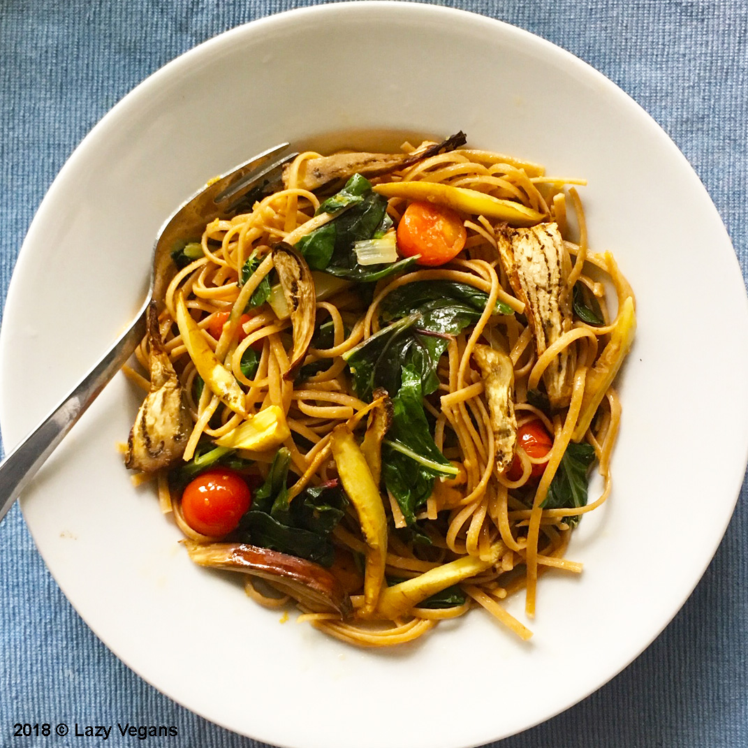spaghetti with roasted swiss chard, eggplant, tomatoes and carrots