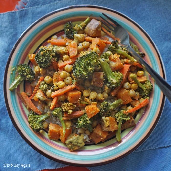 roasted veggies and chickpeas on rice
