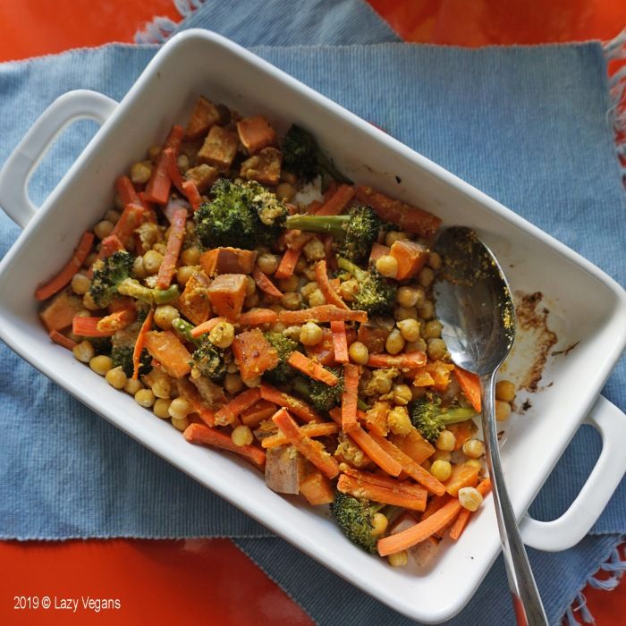 one-pan roasted chickpeas, carrots, broccoli and sweet potato