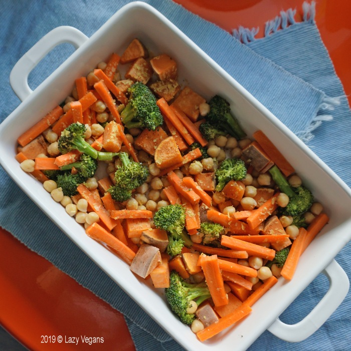 roasted chickpeas, carrots, broccoli and sweet potato with curry tahini