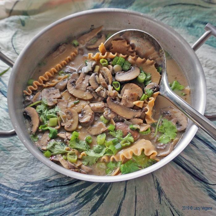 mushroom soup pot and ladle