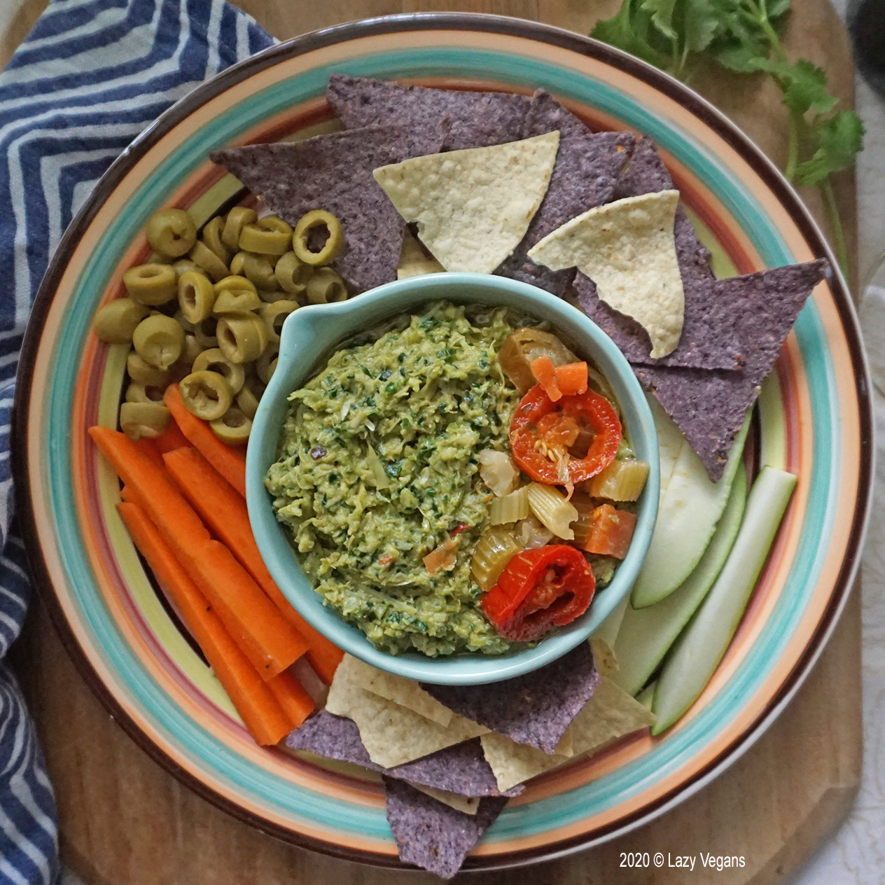 artichoke and kale dip platter