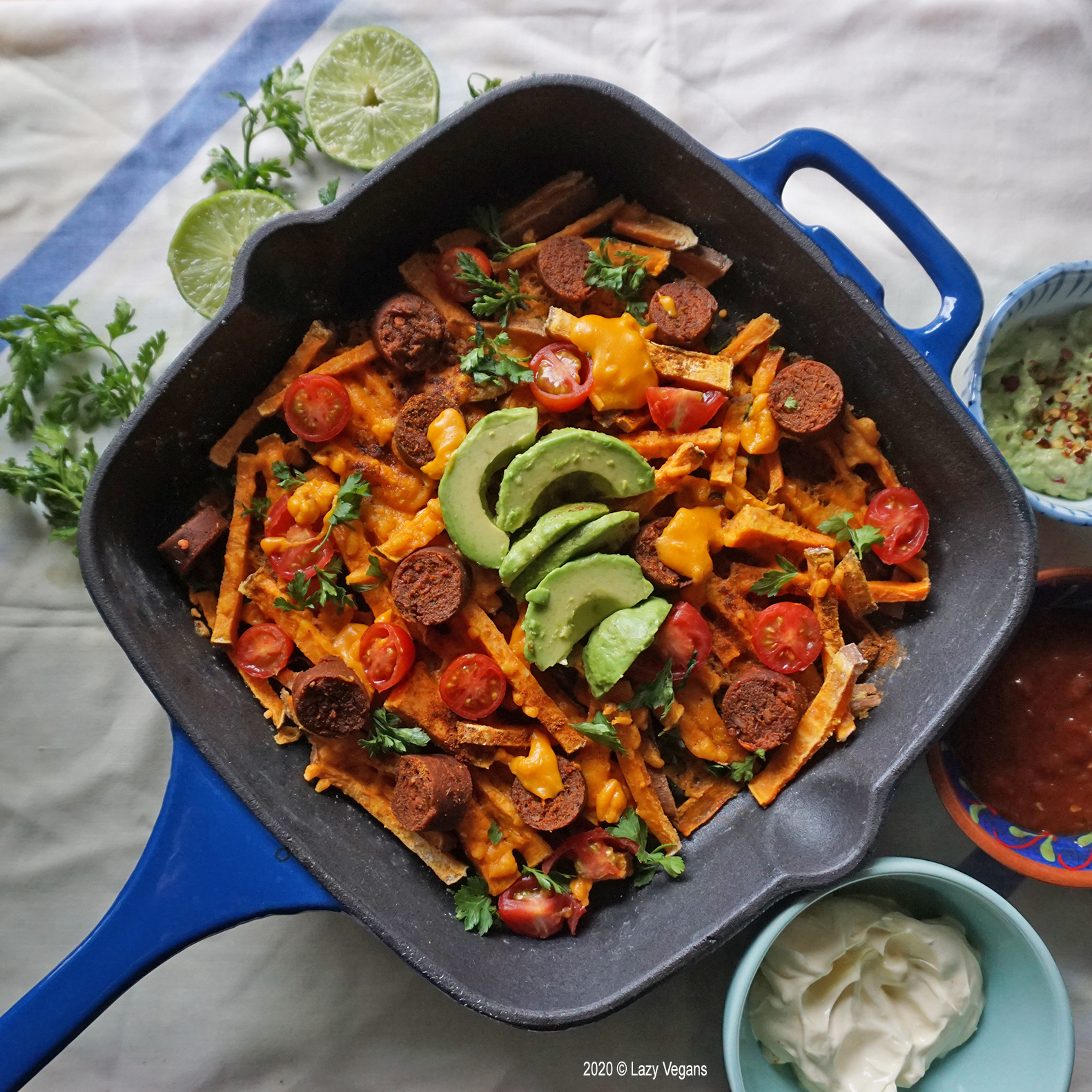 sweet potato nachos with lime and parsley