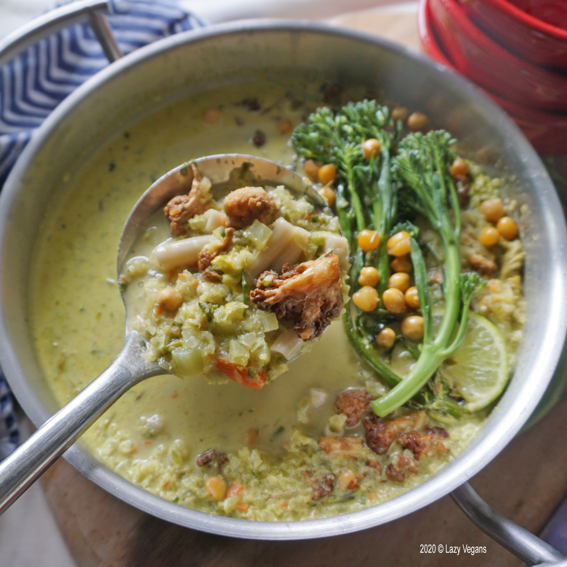 curried cream of celery soup with ladle