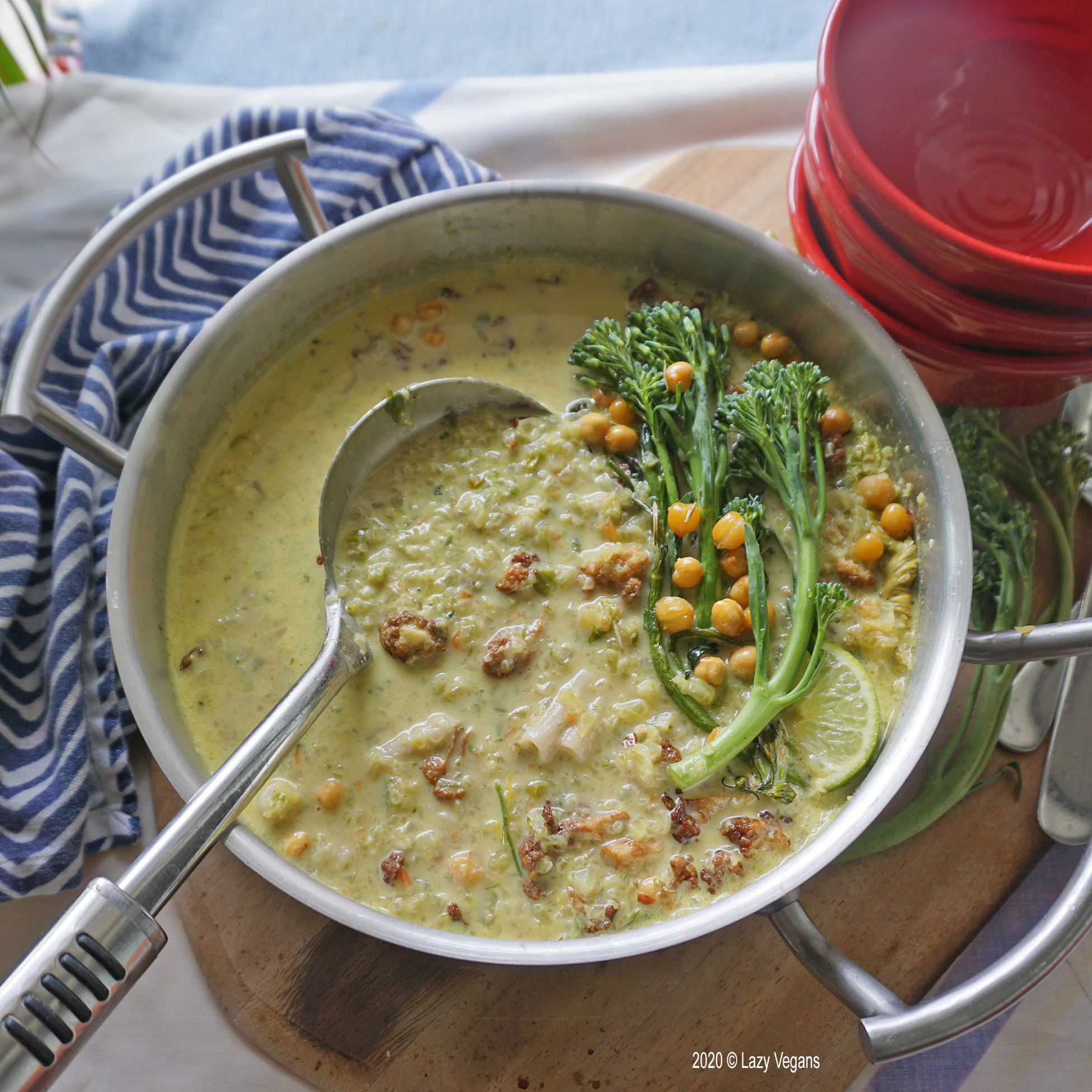 curried cream of celery soup with roasted broccolini, cauliflower and chickpeas