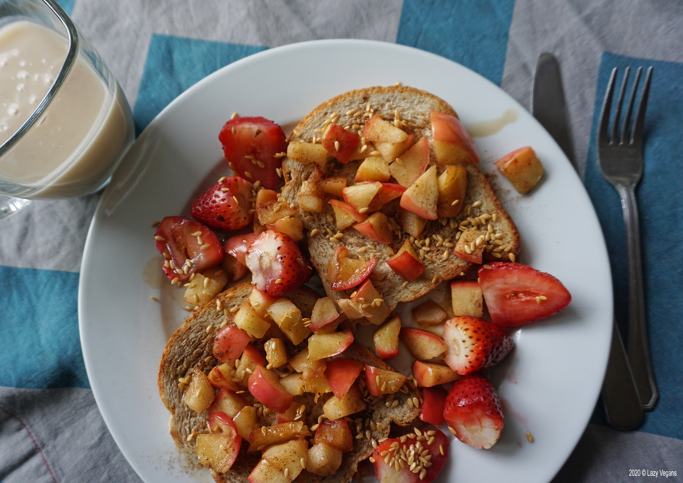caramelized apple and berries on coconut toast with eggnog